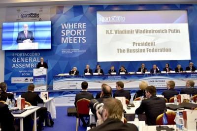 Впервый день саммит «СпортАккорд» вСочи посетил Владимир Путин